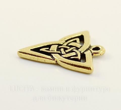 """Подвеска TierraCast """"Кельтская триада"""" (цвет-античное золото) 21х20 мм"""