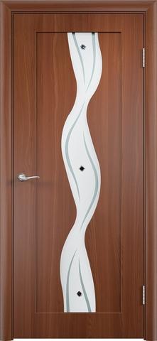 Дверь Верда Вираж, цвет итальянский орех, остекленная