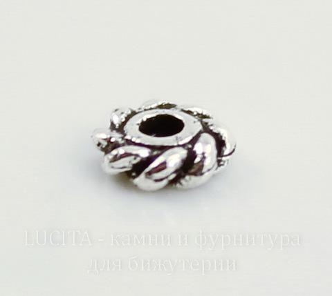 "Бусина - спейсер TierraCast ""Твист"" 4х1,4 мм (цвет-античное серебро), 5 штук"