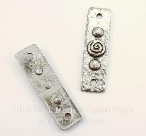 """Коннектор TierraCast """"Этнический"""" (1-1) 40х11 мм (цвет-античное серебро)"""