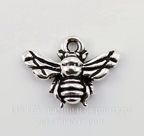 "Подвеска TierraCast ""Пчела"" (цвет-античное серебро) 16х12 мм"