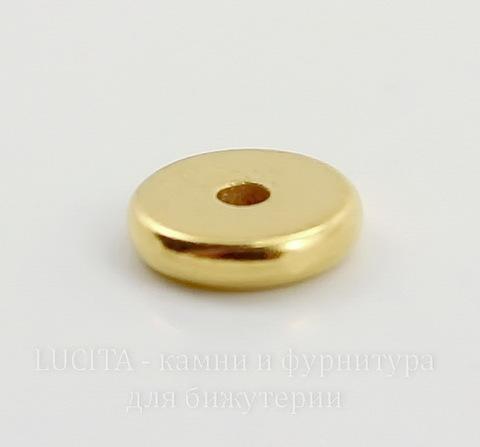 """Бусина - спейсер TierraCast """"Диск"""" 7х2 мм (цвет-золото)"""