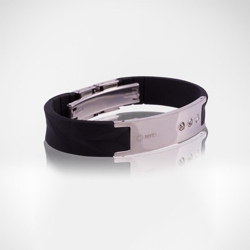 Браслет Lifestrength T1i New MyID luxe черный/серебрянный