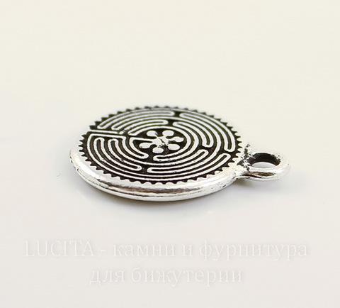 """Подвеска круглая TierraCast """"Лабиринт"""" (цвет-античное серебро) 21х17 мм"""