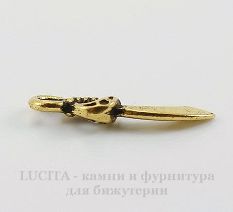 """Подвеска TierraCast """"Сабля"""" (цвет-античное золото) 20х5,5 мм"""
