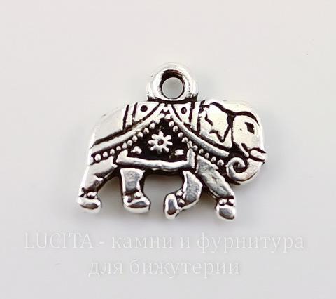 "Подвеска TierraCast ""Слон"" (цвет-античное серебро) 13х12 мм"