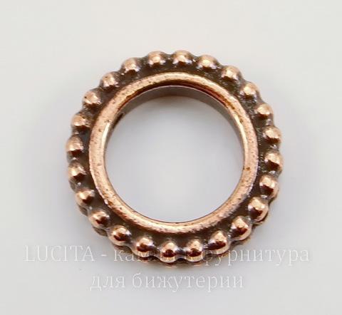 """Рамка для бусины круглая TierraCast """"Бусинки"""" (цвет-античная медь) 14х3 мм"""