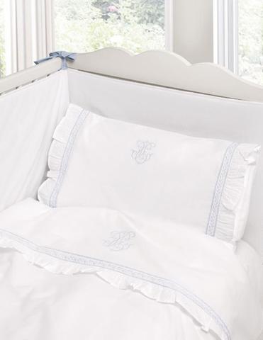 Детское постельное белье Bovi Вензель New Бело-голубое