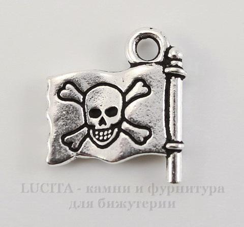 "Подвеска TierraCast ""Пиратский флаг"" (цвет-античное серебро) 16х15 мм"