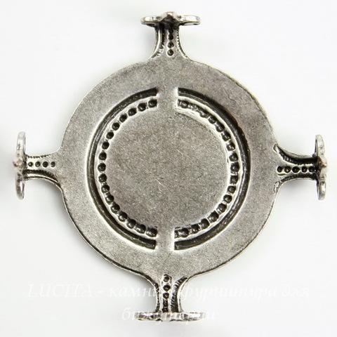 """Сеттинг - основа """"Черепашка"""" для камеи или кабошона 20 мм (оксид серебра)"""