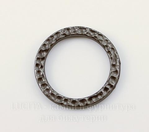 """Коннектор - кольцо TierraCast """"Hammertone"""" (цвет-черный никель) 19 мм"""