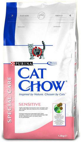 Cat Chow Для кошек с чувствительным пищеварением лососем и рисом(adult Sensitive) 400 г