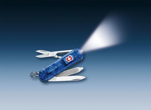 Нож-брелок Victorinox Classic Signature Lite, 58 мм, 7 функ, синий полупрозрачный  (0.6226.T2)
