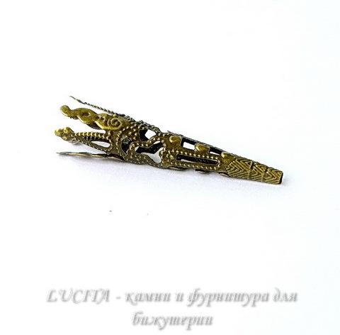 Шапочка для бусины филигранная (цвет - античная бронза) 41х8 мм, 10 штук ()
