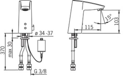 2814F Oras Cubista Бесконтактный смеситель для раковины