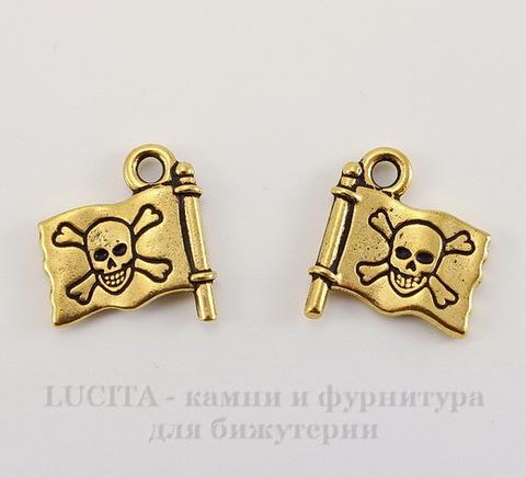 "Подвеска TierraCast ""Пиратский флаг"" (цвет-античное золото) 16х15 мм"