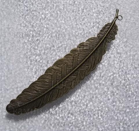"""Основа для закладки """"Перо""""  (цвет - античная бронза) 115 мм"""