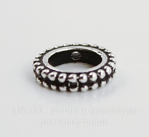 """Рамка для бусины круглая TierraCast """"Бусинки"""" (цвет-античное серебро) 14х3 мм"""