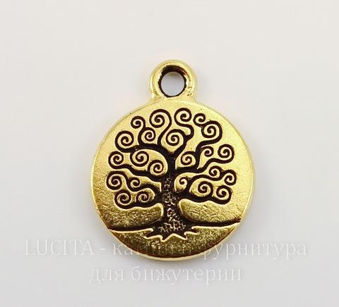 """Подвеска круглая TierraCast """"Дерево жизни"""" (цвет-античное золото) 19х16 мм"""