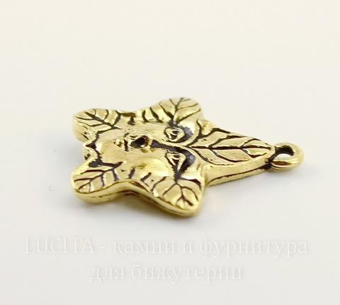 """Подвеска TierraCast """"Лесной дух"""" (цвет-античное золото) 22х19 мм"""
