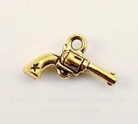 """Подвеска TierraCast """"Револьвер"""" (цвет-античное золото) 20х14 мм"""