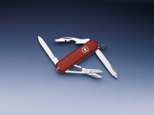 Нож-брелок Victorinox Classic Rambler, 58 мм, 10 функ, красный  (0.6363)