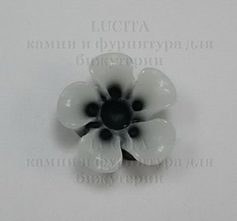 Кабошон акриловый черный двухцветный цветок,  13х5 мм ()