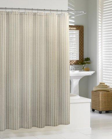 Элитная шторка для ванной Linen Chevron от Kassatex