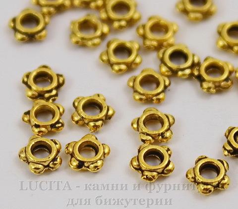 Бусина - рондель - спейсер (цвет - античное золото) 4 мм, 10 штук