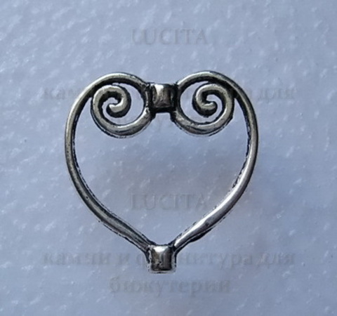 "Рамка для бусины ""Сердце"" (цвет-  античное серебро)  20х20 мм ()"