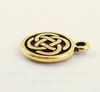 """Подвеска круглая TierraCast """"Кельтский узел"""" (цвет-античное золото) 15х12 мм"""