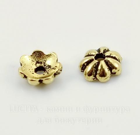 """Шапочка для бусины TierraCast """"Лепестки"""" (цвет-античное золото) 5х2 мм"""