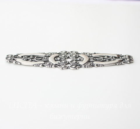 Винтажный декоративный элемент - филигрань 77х25 мм (оксид серебра)