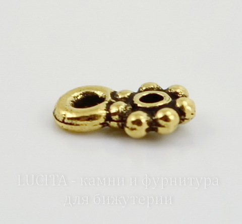 "Бейл TierraCast ""Бусинки"" 8х5 мм (цвет-античное золото)"