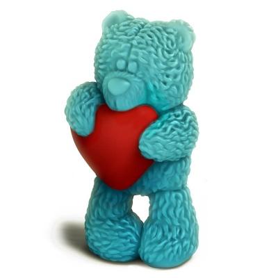 Медвежонок Тедди стоит с сердечком  форма для мыла 3D