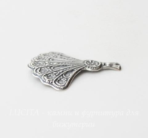 """Винтажный декоративный элемент - подвеска """"Веер"""" 31х29 мм (оксид серебра)"""