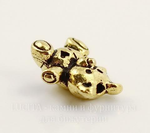 "Бусина TierraCast ""Мишка"" 13х12 мм (цвет-античное золото)"