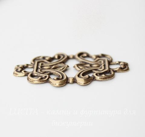 Винтажный декоративный элемент - филигрань 43х28 мм (оксид латуни)