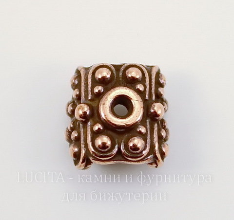 """Шапочка для плоской бусины или кулона TierraCast """"Raja"""" (цвет-античная медь) 9х9х6 мм"""