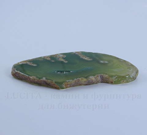 Подвеска Срез Агата (цвет - зеленый) 71х38х5 мм №5
