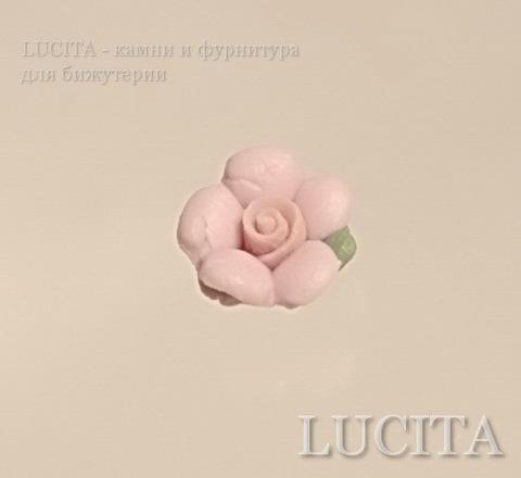 """Бусина фарфоровая ручной работы,""""Розовый цветочек"""" 10х8 мм , 5 штук ()"""