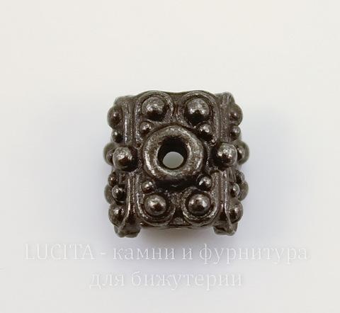 """Шапочка для плоской бусины или кулона TierraCast """"Raja"""" (цвет-черный никель) 9х9х6 мм"""