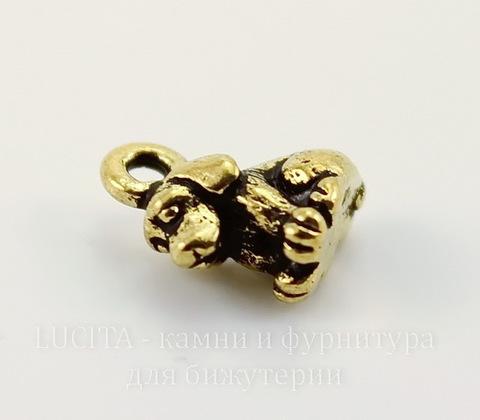 """Подвеска TierraCast """"Щенок"""" 3D (цвет-античное золото) 10х9 мм"""