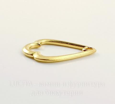 """Подвеска круглая """"Trefoil"""" (цвет-золото) 32х21 мм"""