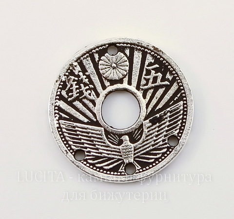 "Коннектор (1-3) TierraCast ""Монета"" (цвет-античное серебро) 18 мм"