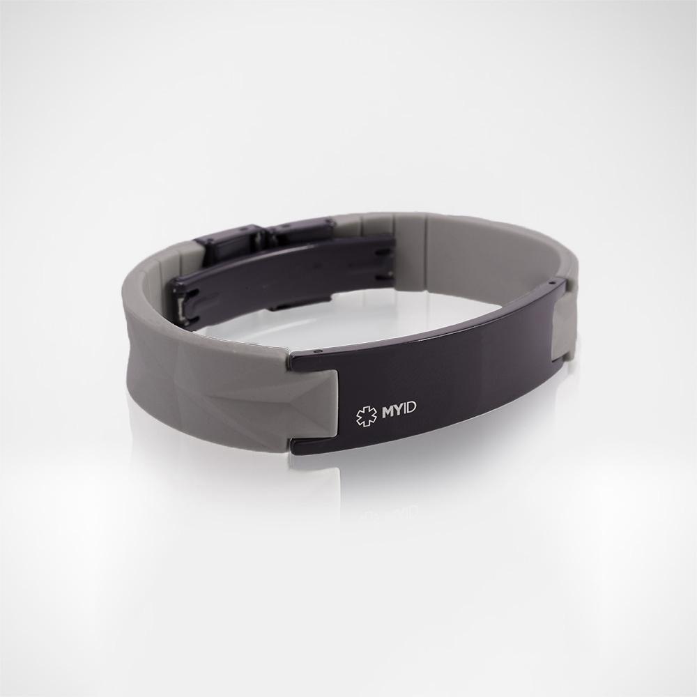 Браслет Lifestrength T1i New MyID luxe серый/черный