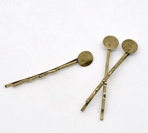 Основа для заколки - невидимки 44 мм с площадкой 8 мм (цвет - античная бронза), 5 штук ()