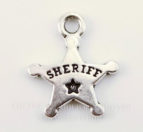 """Подвеска TierraCast """"Звезда шерифа"""" (цвет-античное серебро) 18х15 мм"""