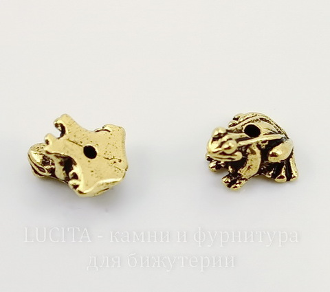 "Бусина TierraCast ""Лягушка"" 12х10х7 мм (цвет-античное золото)"