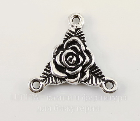 "Коннектор (1-2) TierraCast ""Роза"" (цвет-античное серебро) 18х17 мм"